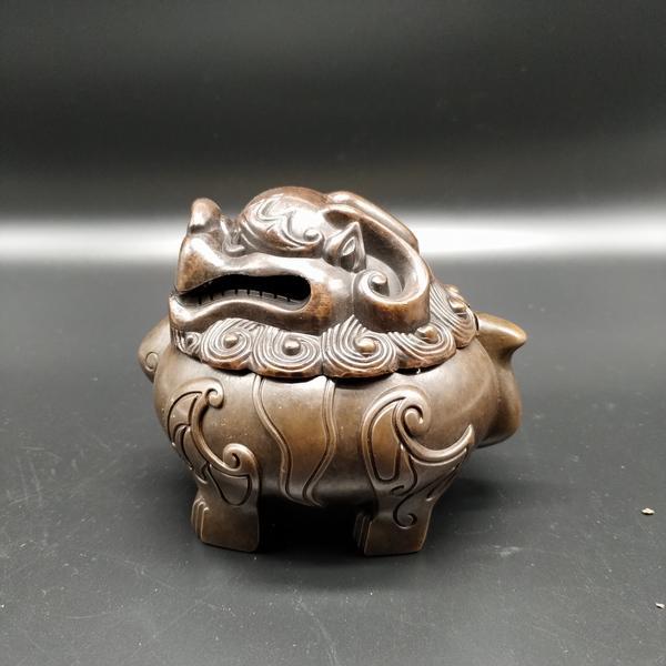 铜合金古法制作狻猊瑞兽香炉